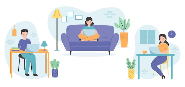 Flat-hand drawn remote working scenes Free Vector