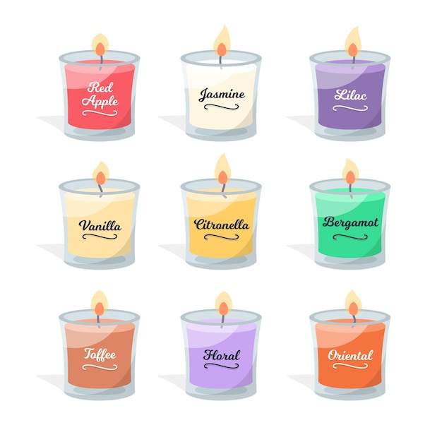 Flat-hand drawn scented candle collection Premium Vector
