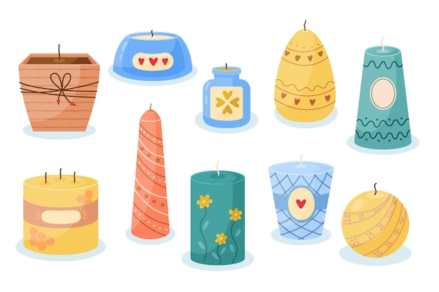 Flat-hand drawn scented candle collection Free Vector