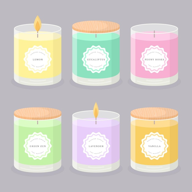 Flat-hand drawn scented candle illustration collection Premium Vector