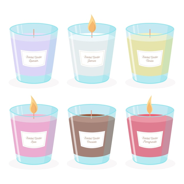 Flat-hand drawn scented candle illustration set Premium Vector