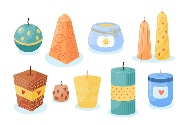 Flat-hand drawn scented candle pack Free Vector