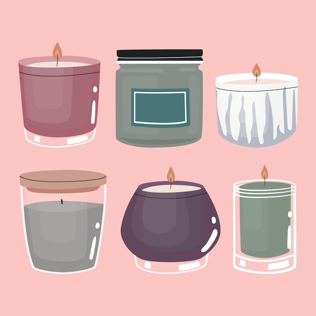 Flat-hand drawn scented candle set Free Vector
