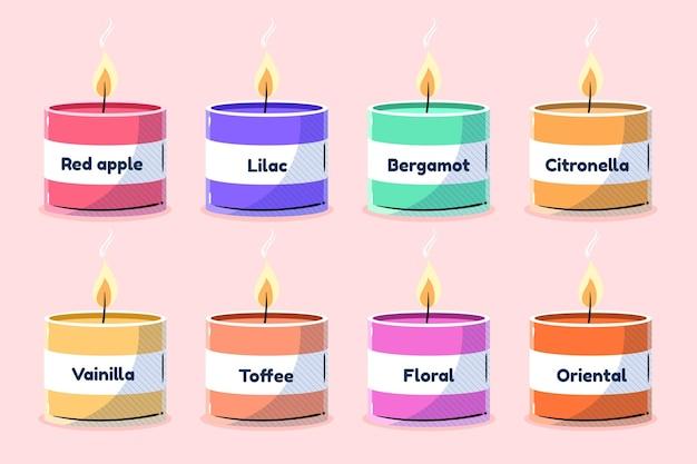 Set di candele profumate disegnate a mano piatta Vettore gratuito