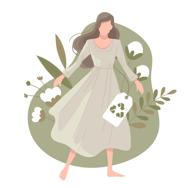 女性と綿のフラット手描き持続可能なファッションイラスト 無料ベクター