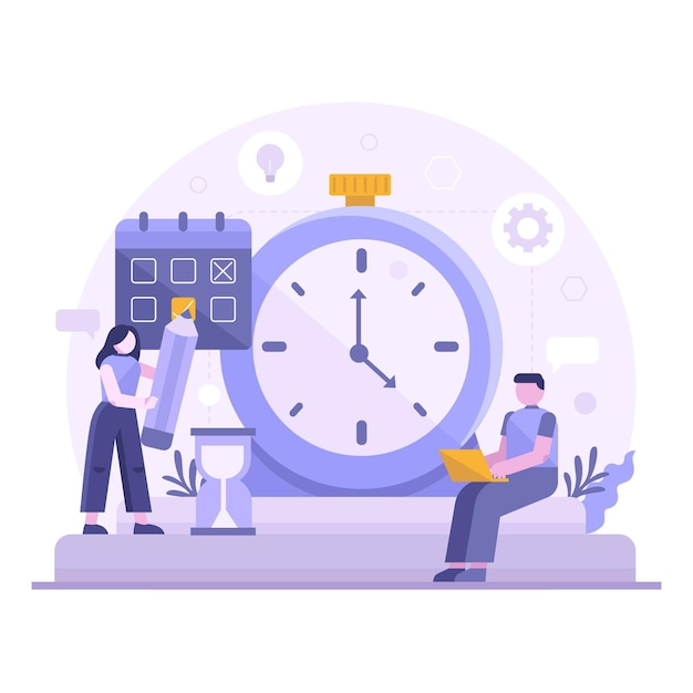 Flat-hand drawn time management concept with couple Free Vector