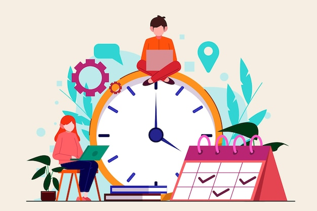 Flat-hand drawn time management concept Free Vector