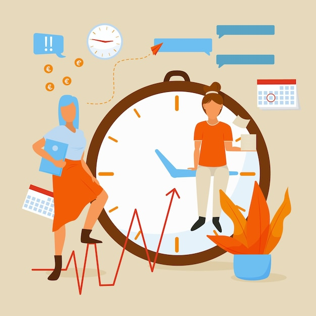 Flat-hand drawn time management illustration Free Vector