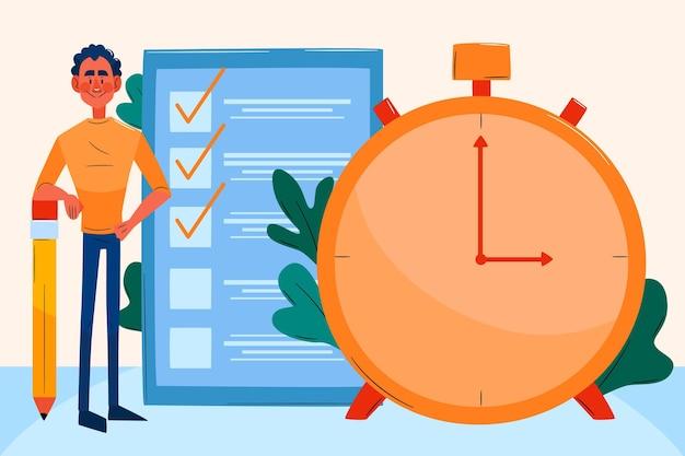 Flat-hand drawn time management illustration Premium Vector