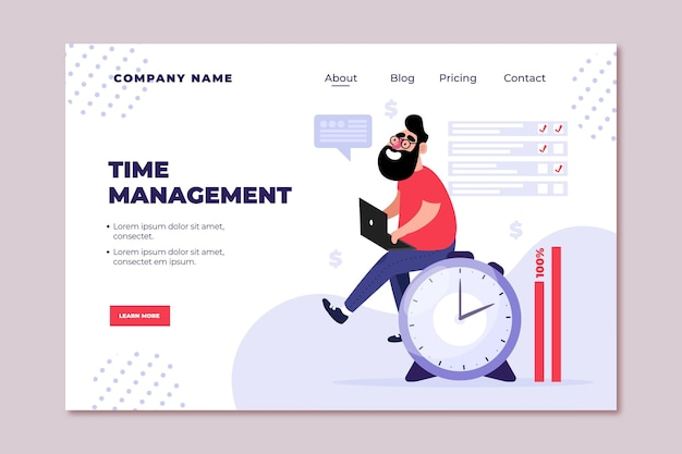 Flat-hand drawn time management landing page Free Vector