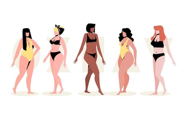 Плоские рисованные типы женского тела Бесплатные векторы