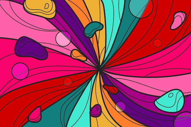 Flat-hand drawn vivid colored groovy background Free Vector