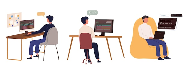 Flat hand drawn web developers Free Vector