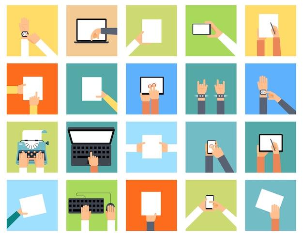 다양한 장치와 손을 잡고 플랫 손 아이콘은 다른 작업을 수행하고 있습니다. 스마트 시계, 노트북 및 종이, 포인팅 컴퓨터, 키보드 및 타자기, 무료 벡터