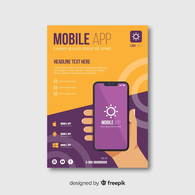 Flat hand mobile app poster Vector | Free Download