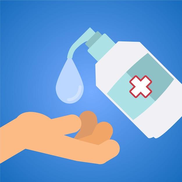Concetto di disinfettante per mani piatte Vettore gratuito