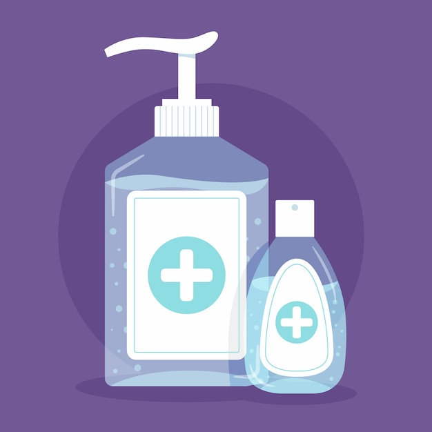 Flat hand sanitizer concept Free Vector
