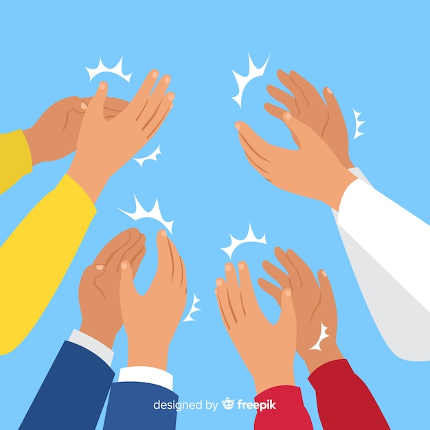 Flat hands applauding background Free Vector