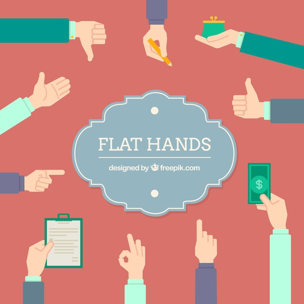 Flat hands collection Free Vector