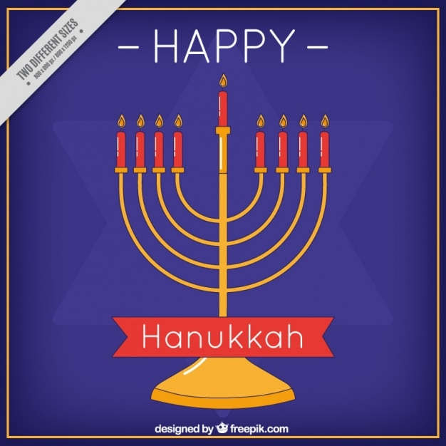 Flat hanukkah background with candelabra and\ star