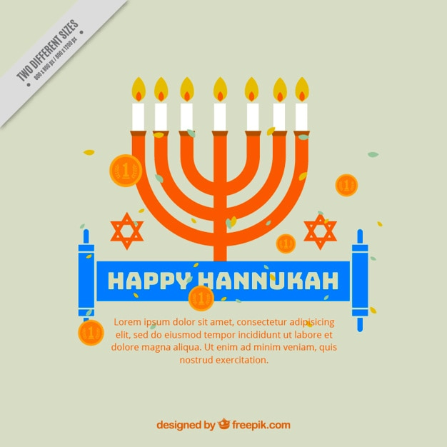 Flat hanukkah background with coins and\ candelabra