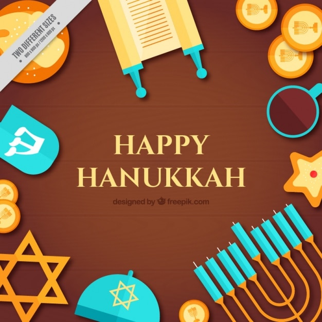 Flat hanukkah background with different\ items