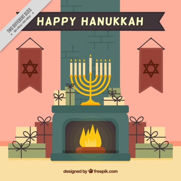 Flat hanukkah background with gifts and\ fireplace