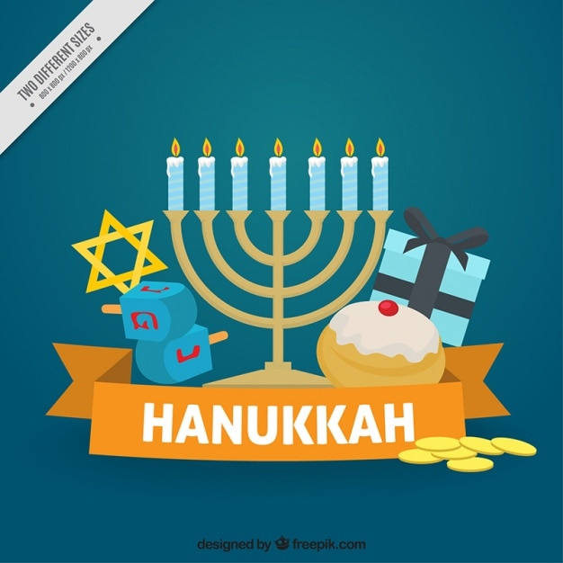 Flat hanukkah background with spinning tops and candelabra Free Vector