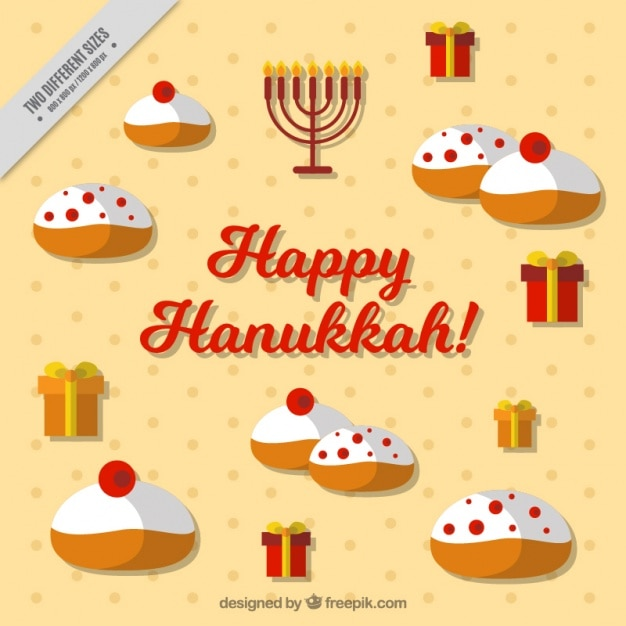 Flat hanukkah background with tasty sweets and\ gifts