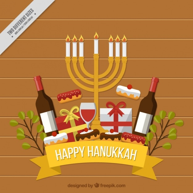 Flat hanukkah background with wine bottles and\ candelabra