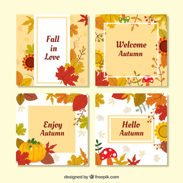 Flat happy autumn cards with leaves