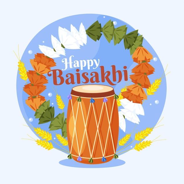 Piatto baisakhi felice illustrazione Vettore gratuito