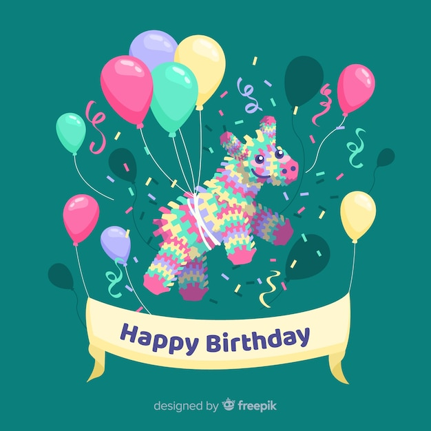 Flat happy birthday background with balloons Free Vector