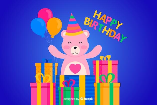 Flat happy birthday background with teddy bear Free Vector