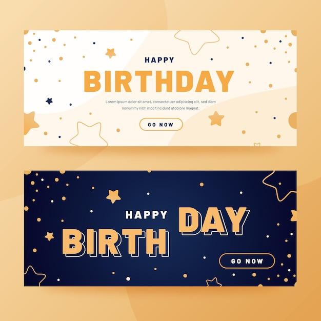 Плоский дизайн баннеров с днем рождения Бесплатные векторы