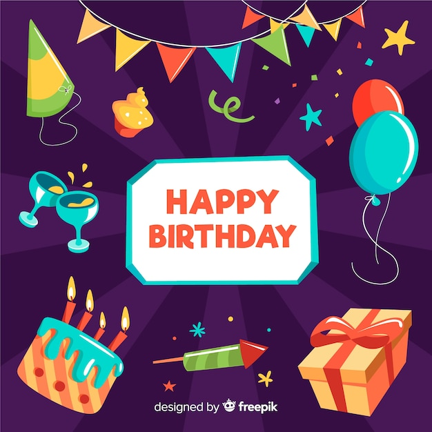 Flat happy birthday element collection Free Vector