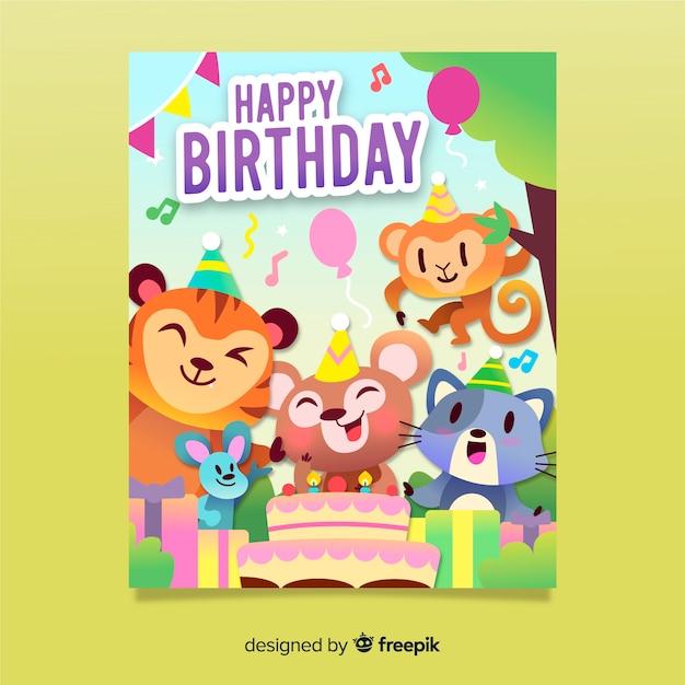 Flat Happy Birthday Invitation Card Vector Free Download