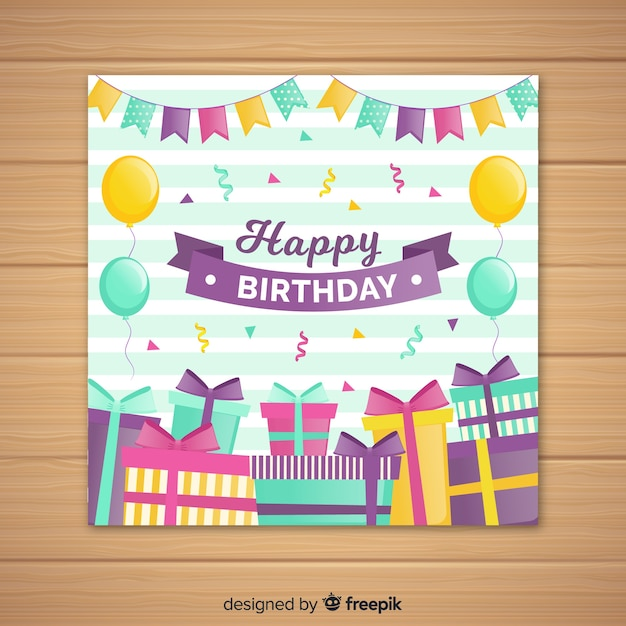 Flat Happy Birthday Invitation Card Vector Free Download