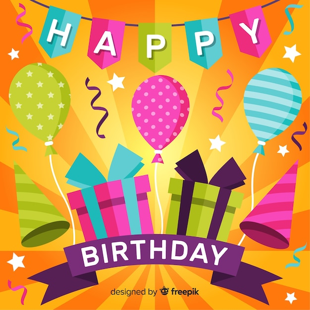 Flat happy birthday party background Free Vector