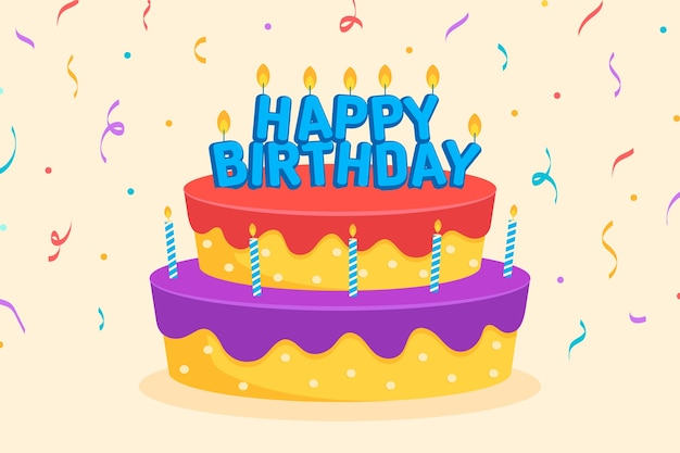 Flat happy birthday with cake and confetti background Free Vector