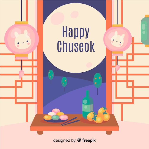 Flat happy chuseok festival background Free Vector