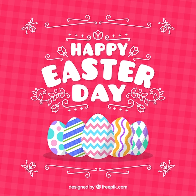 Flat happy easter day background Free Vector