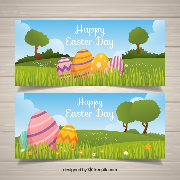 Flat happy easter day banners Free Vector