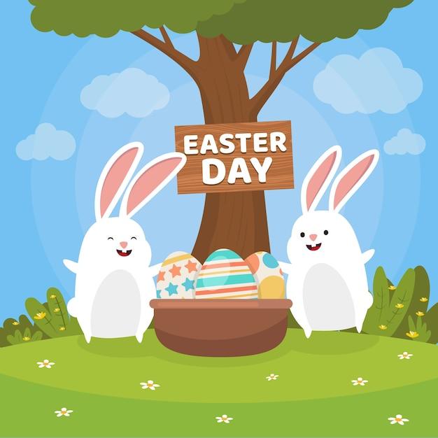 Плоские счастливые пасхальные кролики Бесплатные векторы