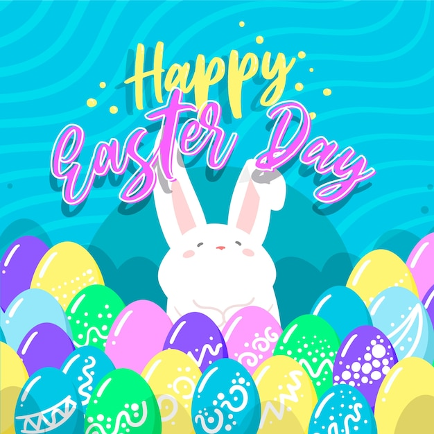 Flat happy easter day with rabbit Free Vector