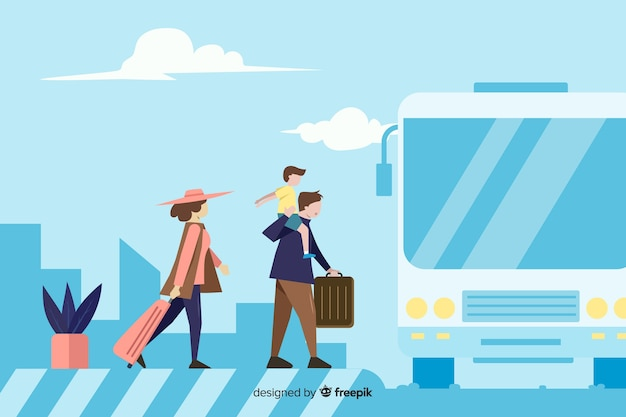 Flat happy family traveling background Free Vector
