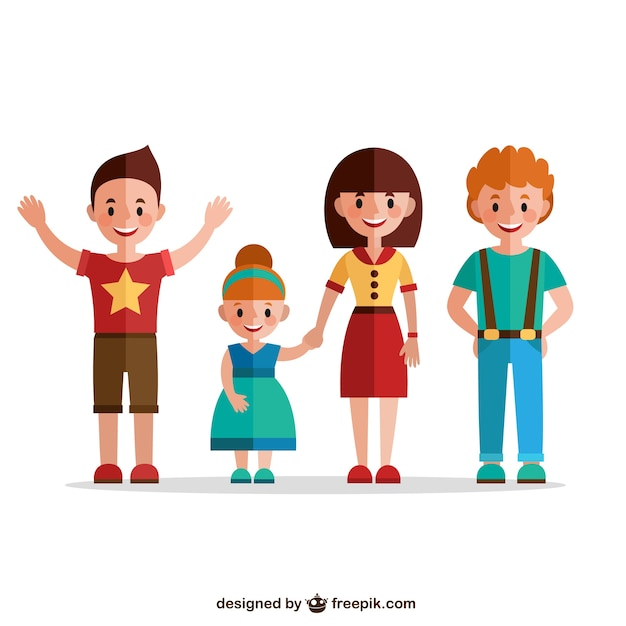 Flat happy family Vector | Free Download