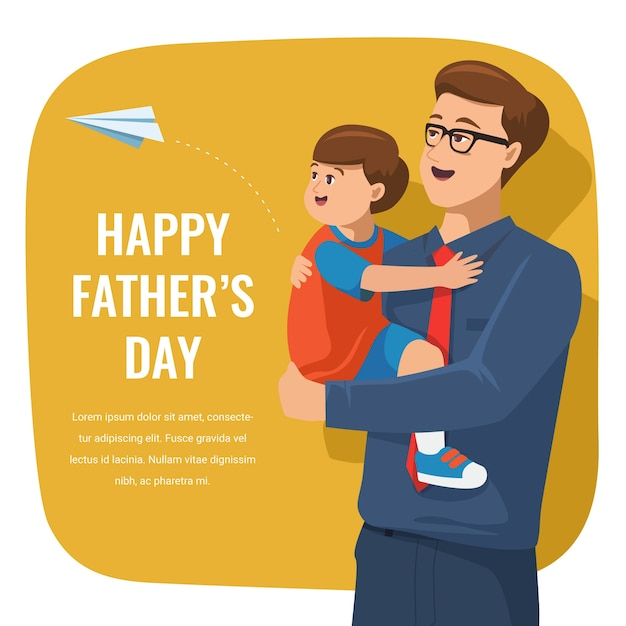 Flat happy father's day illustration Free Vector