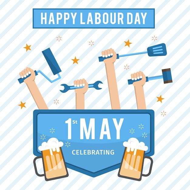 Flat happy labourday Premium Vector