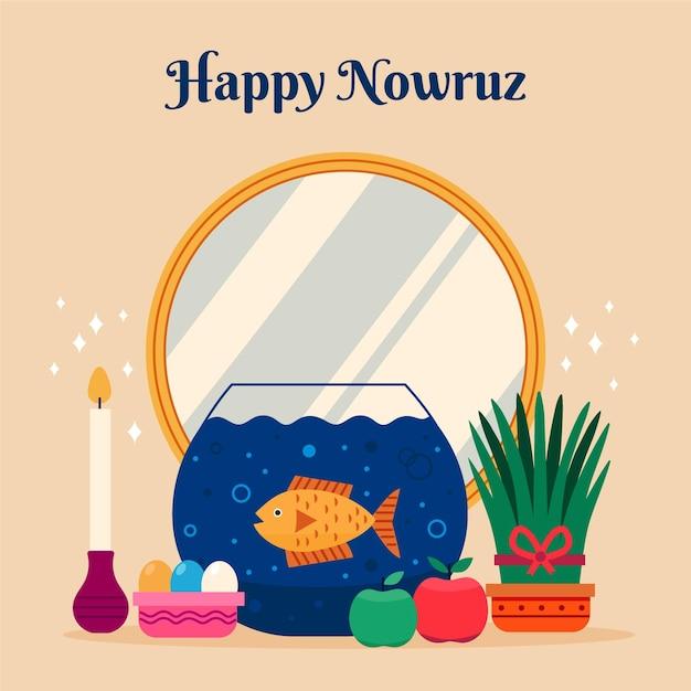 Flat happy nowruz celebrating Premium Vector